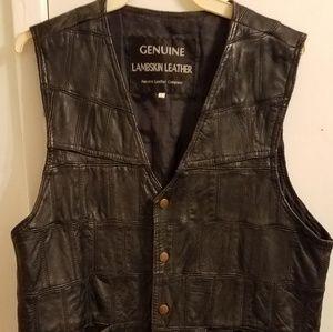 Genuine lambskin leather vest